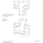 Penrose Floor Plan - 2 Bedroom Type (2P)b+c