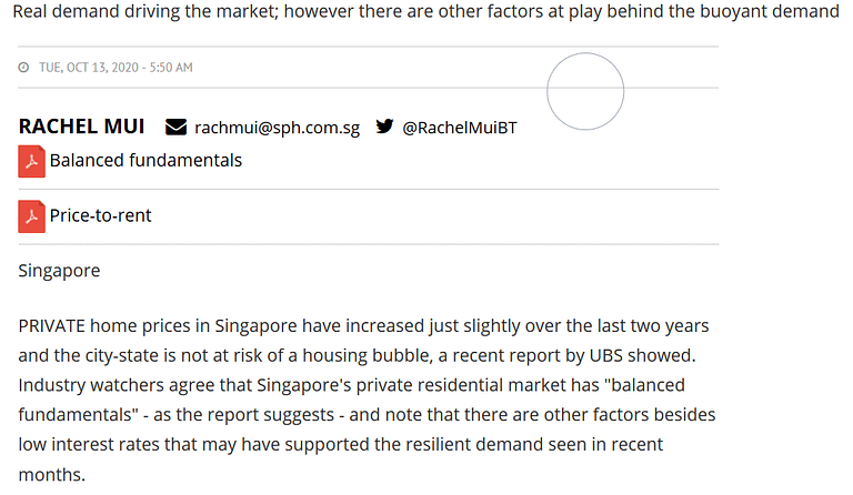 Penrose - Analysts see 'balanced fundamentals' in Singapore's private property market, Business Times 13 oct 2020