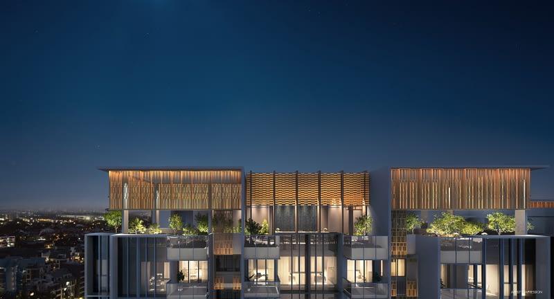 Penrose condo gallery - Sky Garden Night Facade - Stunning resplendence reaches new heights